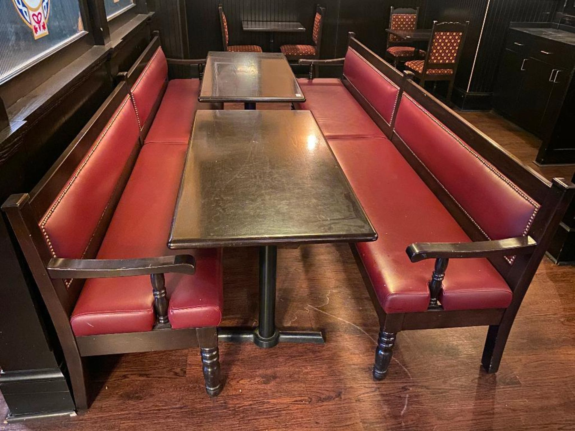 LOT OF (2) RECTANGULAR TABLE WITH (2) 10' BURGUNDY BENCHES - Image 2 of 4