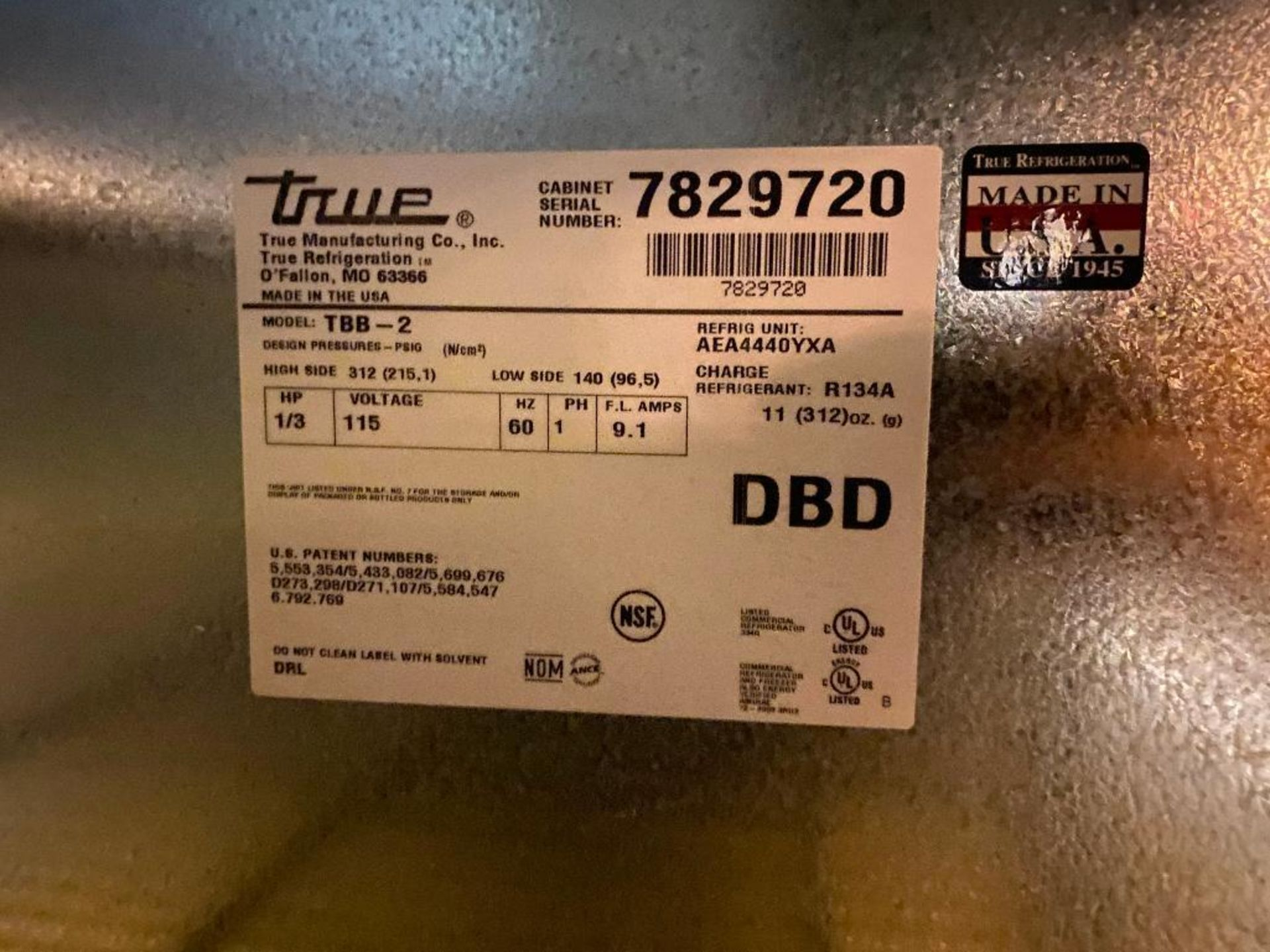 "TRUE TBB-2 59"" 2 DOOR SOLID BACK BAR REFRIGERATOR - NOTE: REQUIRES REMOVAL FROM UNDER BAR, PLEASE IN - Image 4 of 4"
