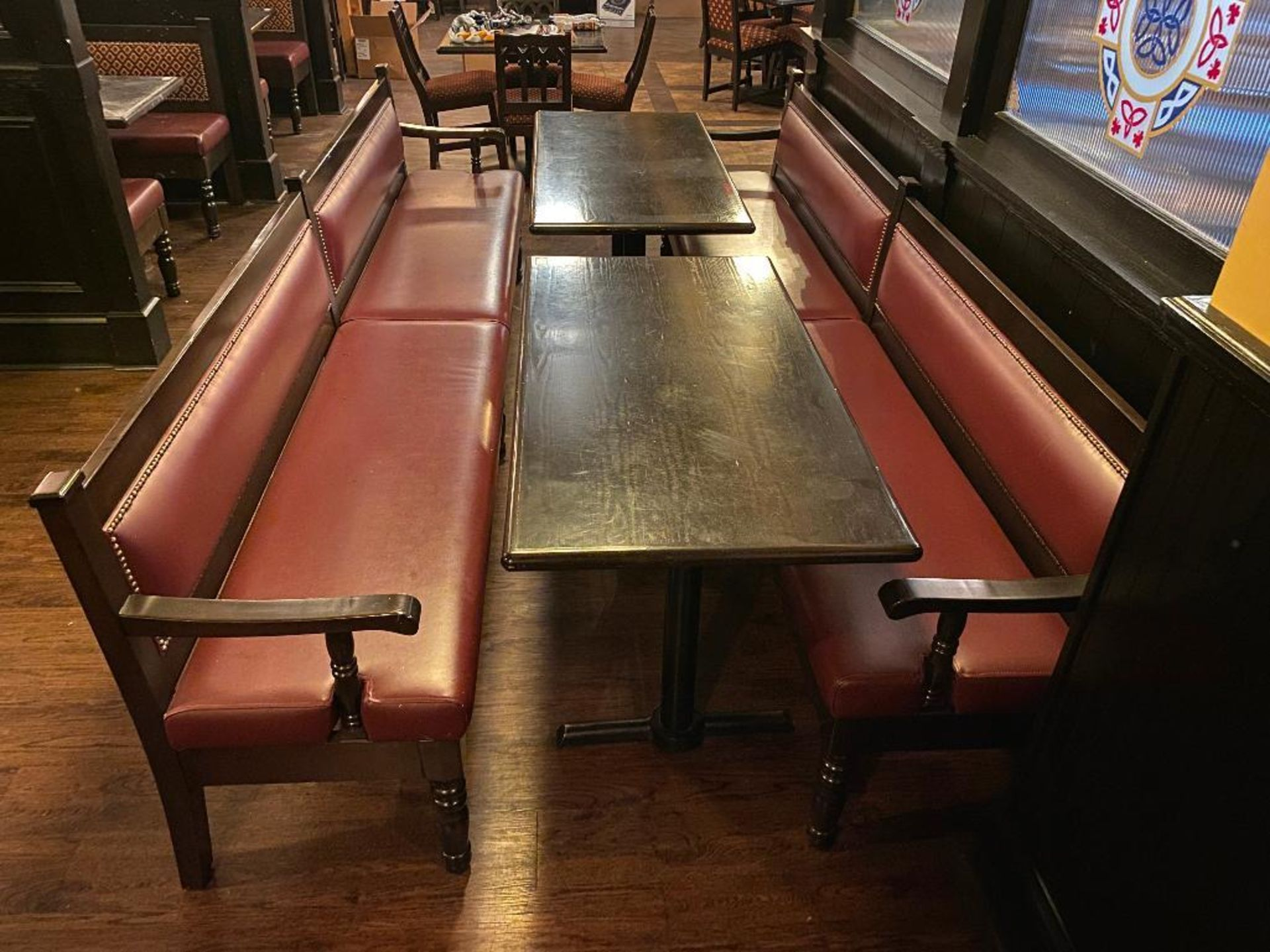 LOT OF (2) RECTANGULAR TABLE WITH (2) 10' BURGUNDY BENCHES - Image 3 of 4