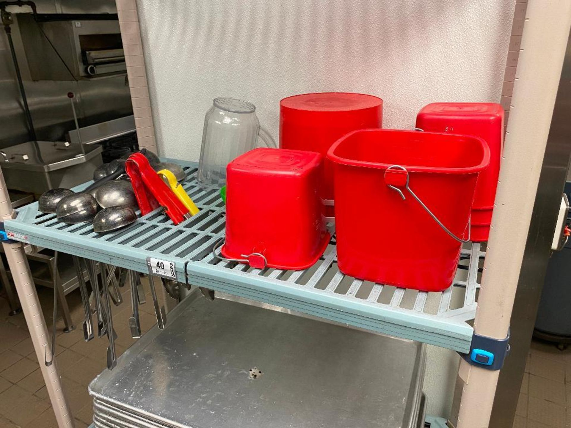 METRO MAX PLASTIC STORAGE RACK WITH STAINLESS STEEL LADLES AND RED WASH BUCKETS - Image 3 of 3