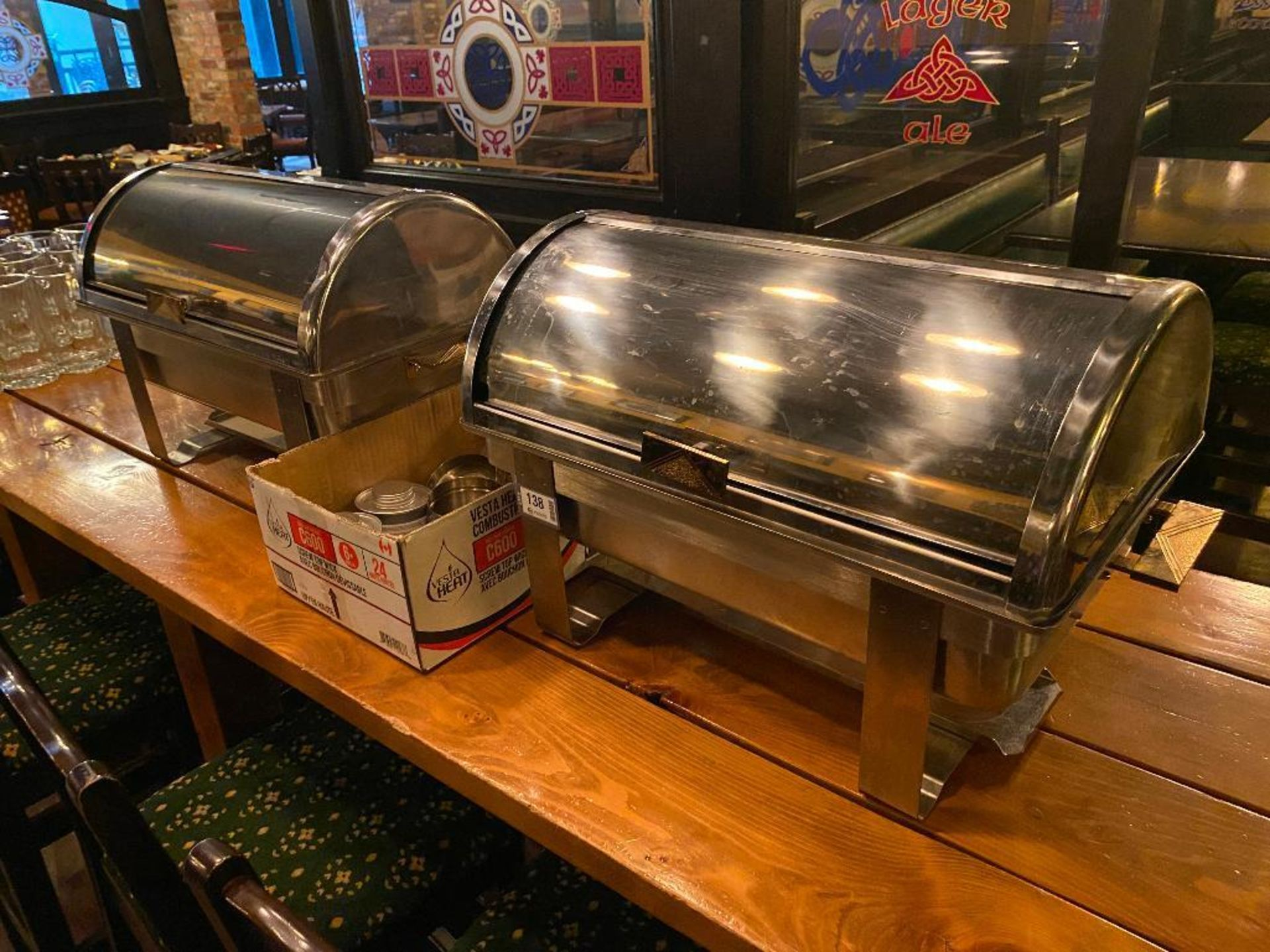 LOT OF (2) STAINLESS STEEL CHAFERS WITH FUEL - Image 4 of 4