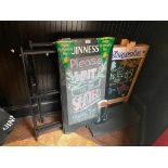 LOT OF (2) ADVERTISING SANDWICH BOARDS & 3 METAL A-FRAME SIGN HOLDERS
