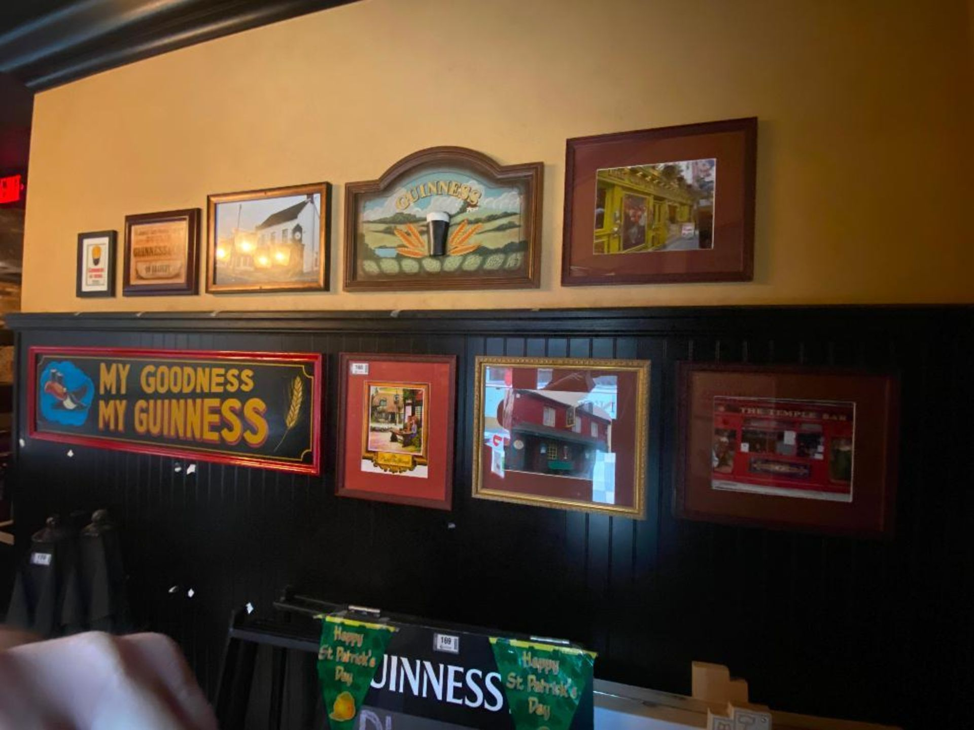 LOT OF (7) FRAMED MEMORABILIA PHOTOS & (2) WOODEN GUINNESS PLAQUES - NOTE REQUIRES REMOVAL FROM WALL - Image 2 of 5