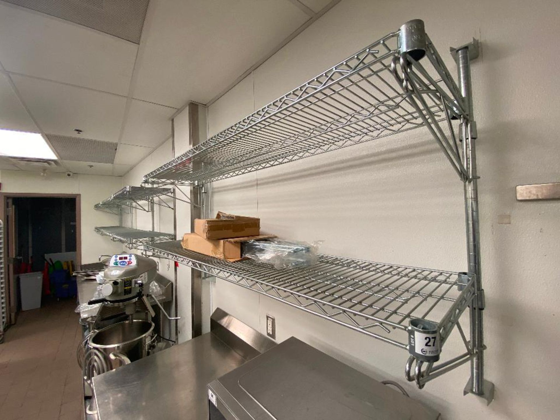 (8) CHROME WIRE WALL MOUNTED SHELVES, ASSORTED SIZES - NOTE: REQUIRES REMOVAL FROM WALL, PLEASE INSP - Image 2 of 3
