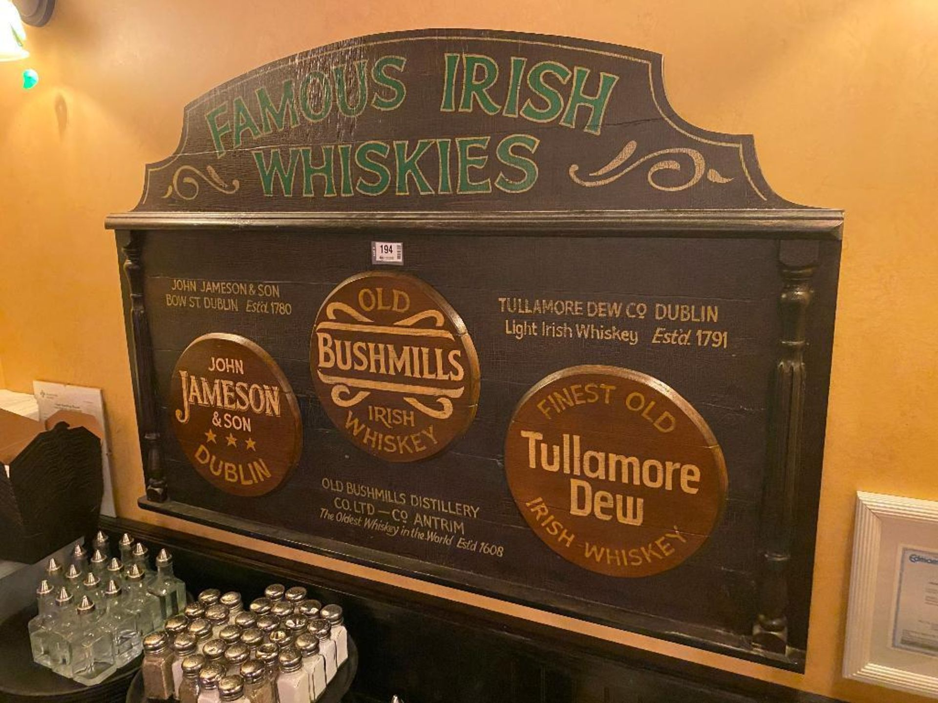FAMOUS IRISH WHISKIES WOODEN PLAQUE - NOTE: REQUIRES REMOVAL FROM WALL, PLEASE INSPECT - Image 2 of 2