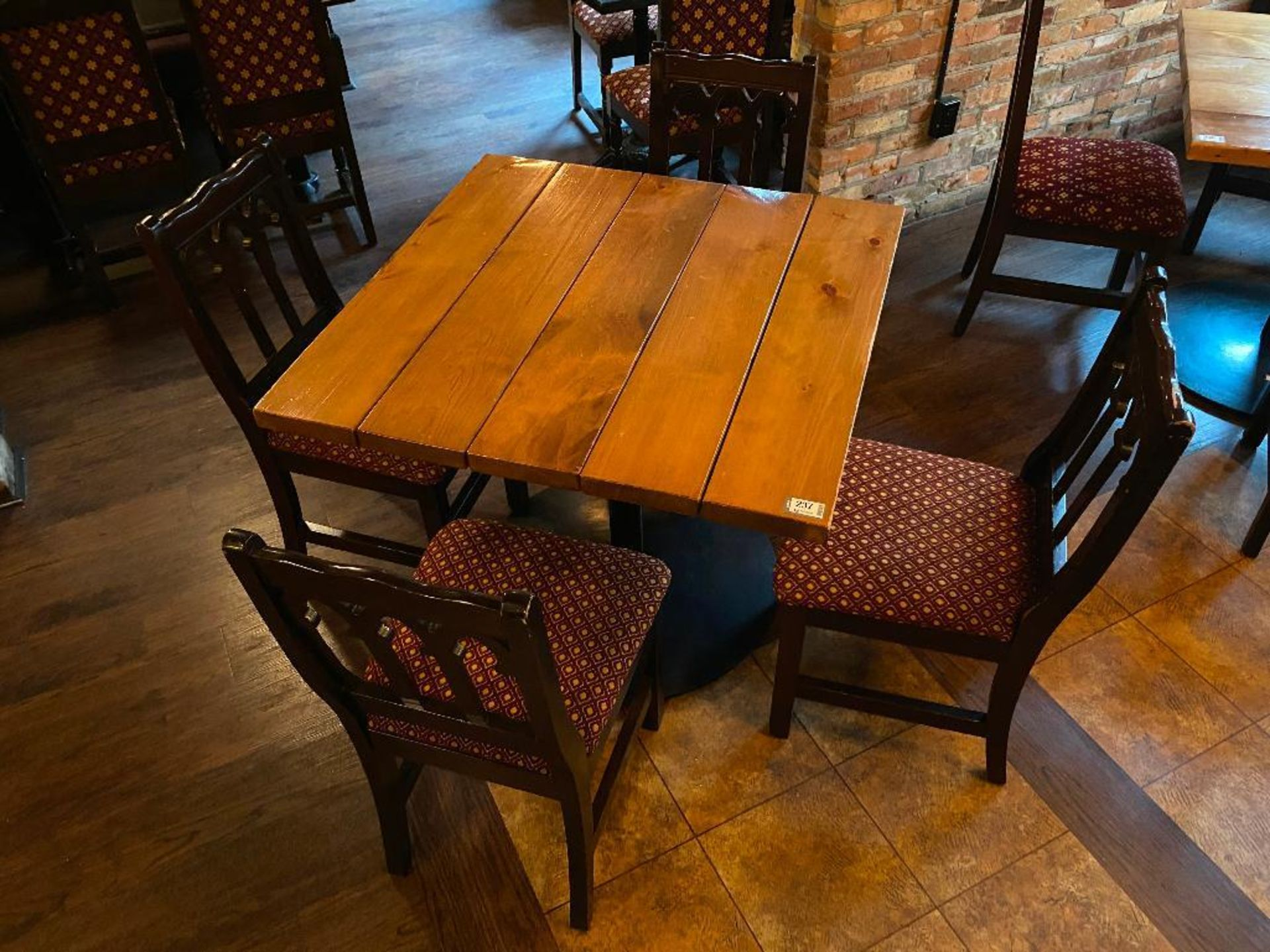 """36"""" X 36"""" SQUARE WOOD TOP TABLE WITH 4 CHAIRS"""