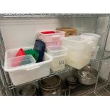LOT OF ASSORTED SIZE DRY INGREDIENT STORAGE CONTAINERS