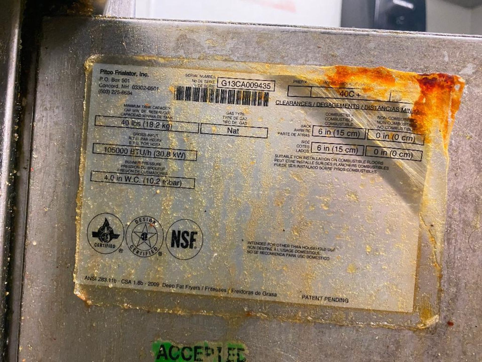 PITCO 40C+ FLOOR TUBE FIRED NATURAL GAS FRYER - NOTE: REQUIRES DISCONNECT,PLEASE INSPECT - Image 4 of 4