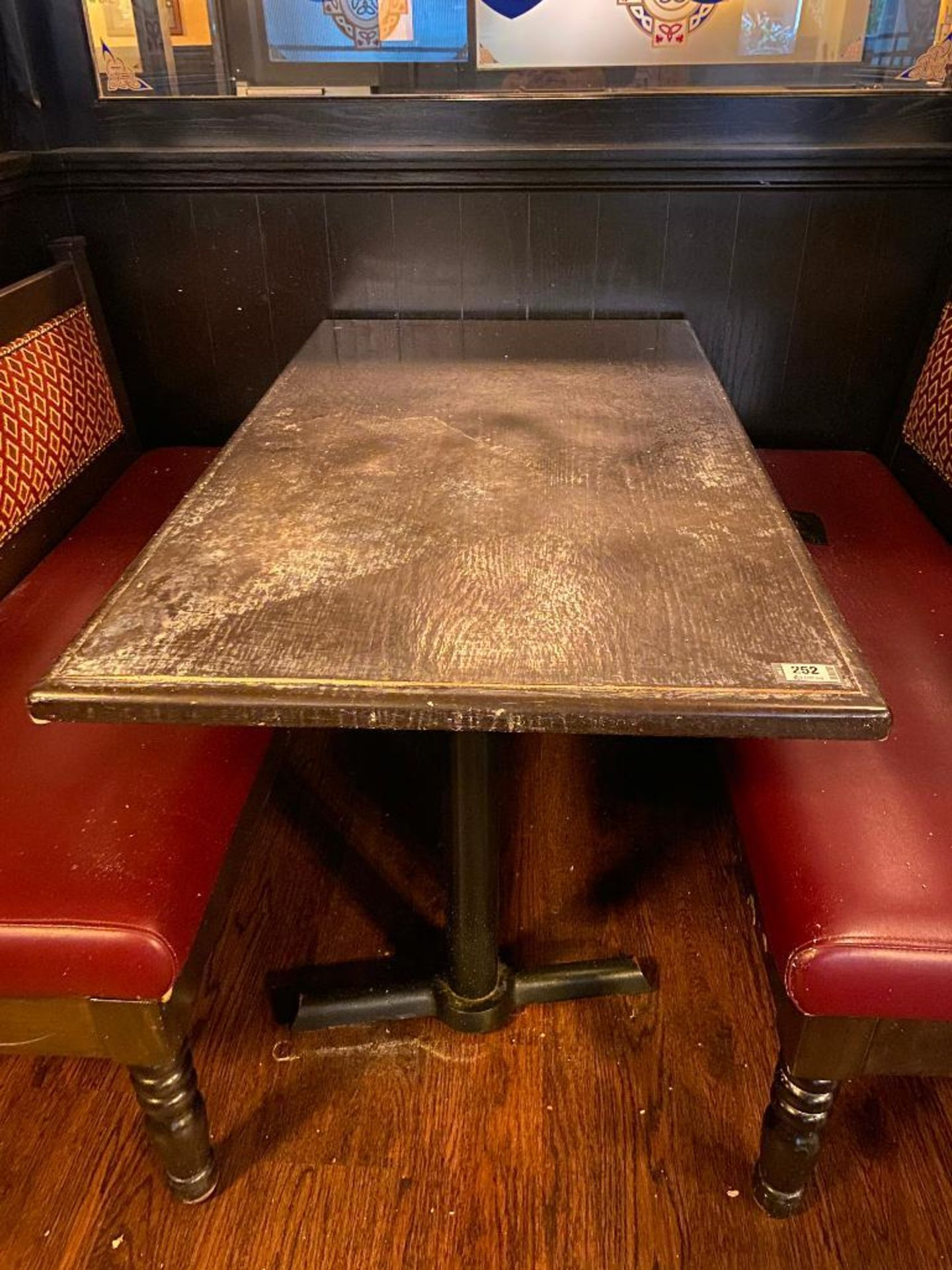 """RECTANGULAR TABLE WITH (2) 54"""" BURGUNDY BENCHES - Image 4 of 5"""