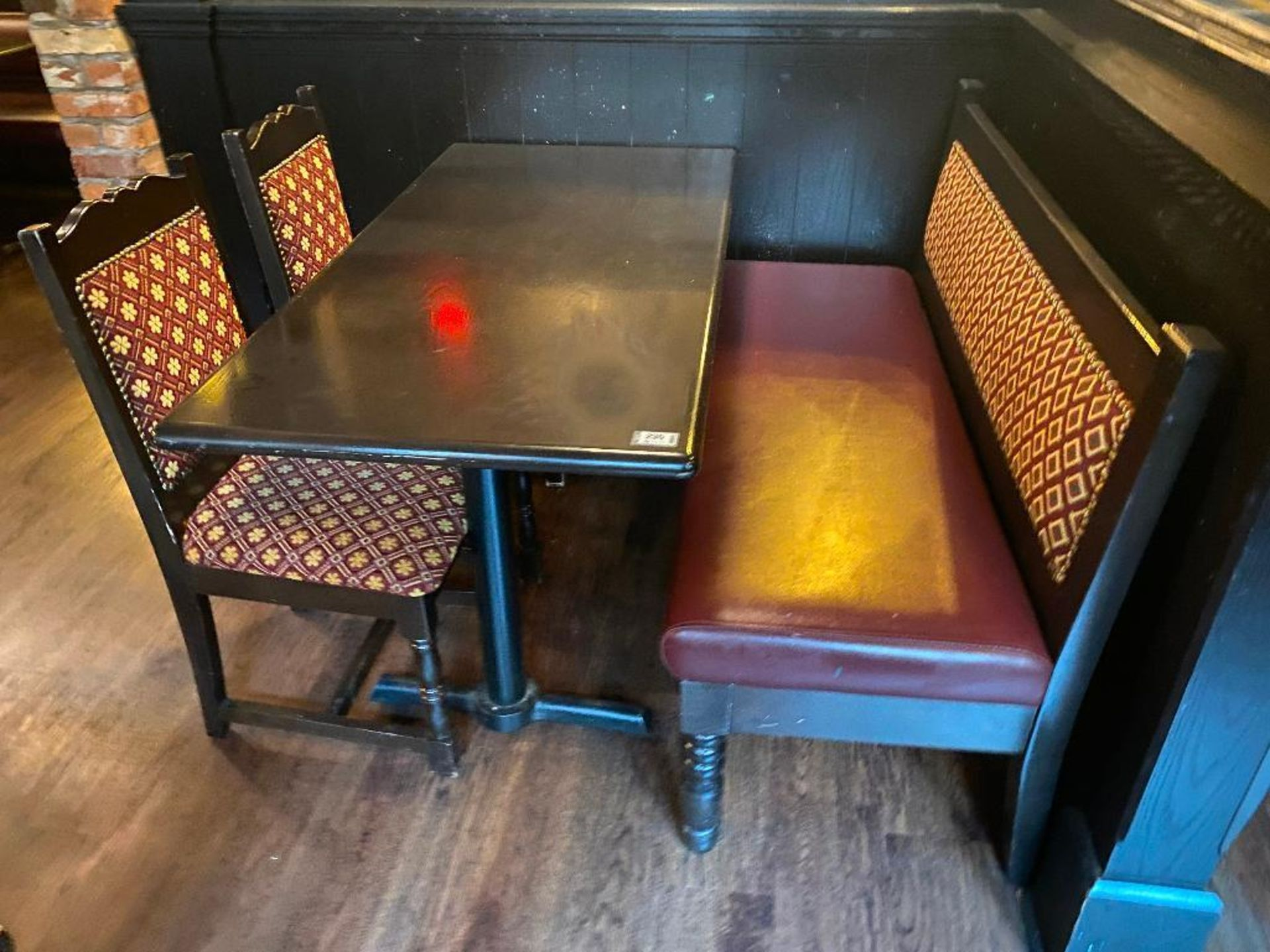 """RECTANGULAR TABLE WITH 2 CHAIRS & 54"""" BURGUNDY BENCH - Image 3 of 3"""
