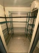 LOT OF (3) GREEN WIRE STORAGE RACKS, ASSORTED SIZES