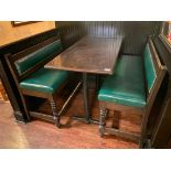 "RECTANGULAR BAR HEIGHT TABLE WITH (2) 54"" GREEN BAR HEIGHT BENCHES"