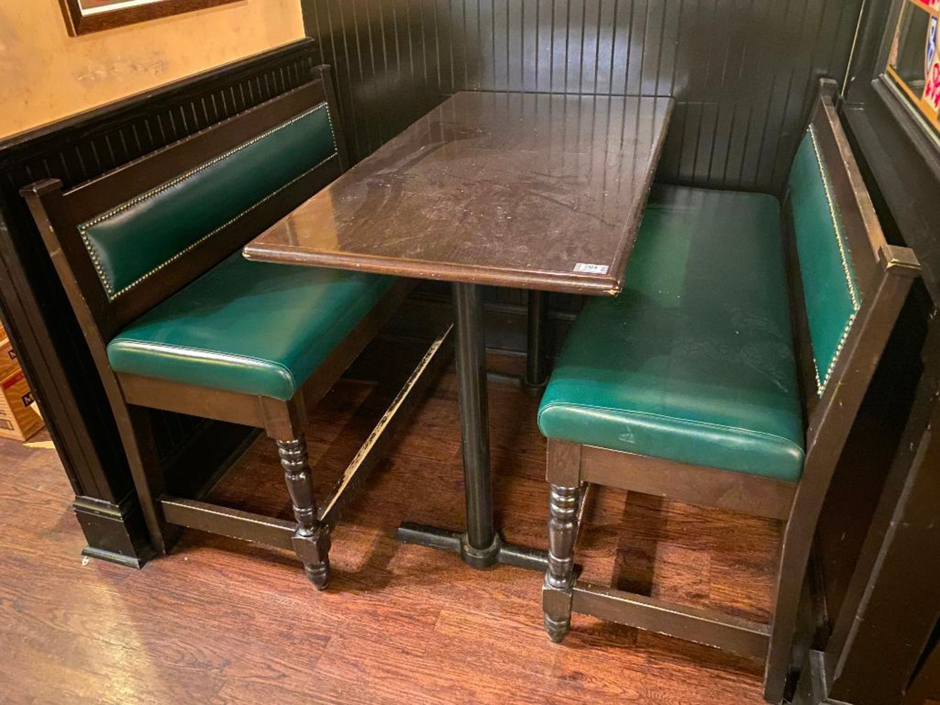 """RECTANGULAR BAR HEIGHT TABLE WITH (2) 54"""" GREEN BAR HEIGHT BENCHES"""