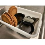 """LOT OF (7) 8"""" CAST IRON FRYING PANS & (6) CORK COASTER & (3) PAN OVEN MITTS"""