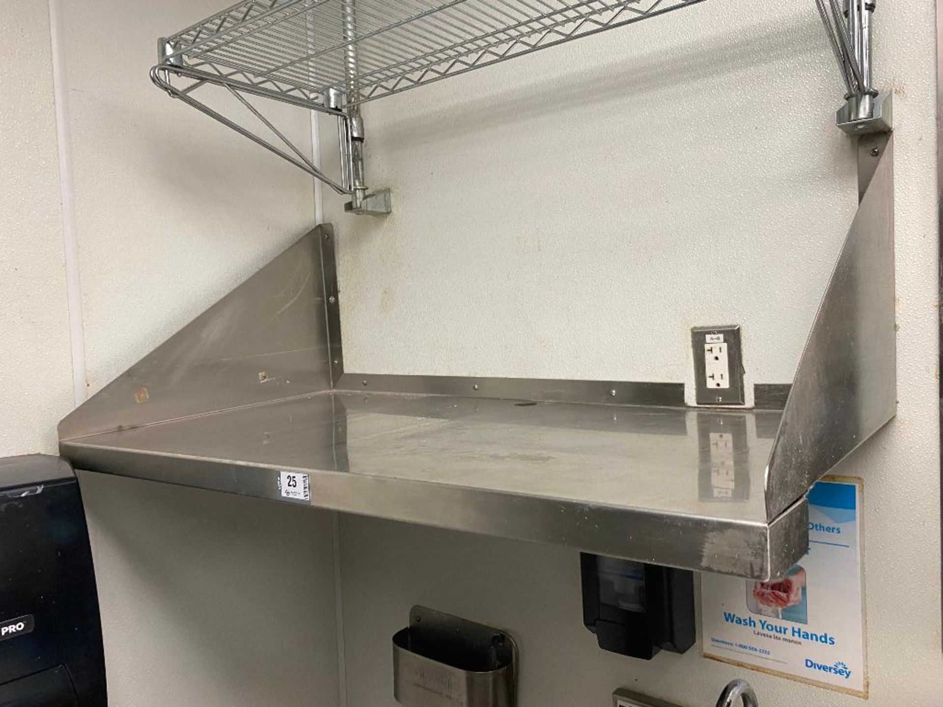 """42"""" X 22"""" STAINLESS STEEL WALL SHELF & 35"""" X 15"""" CHROME WIRE SHELF - NOTE: REQUIRES REMOVAL FROM WAL - Image 3 of 5"""