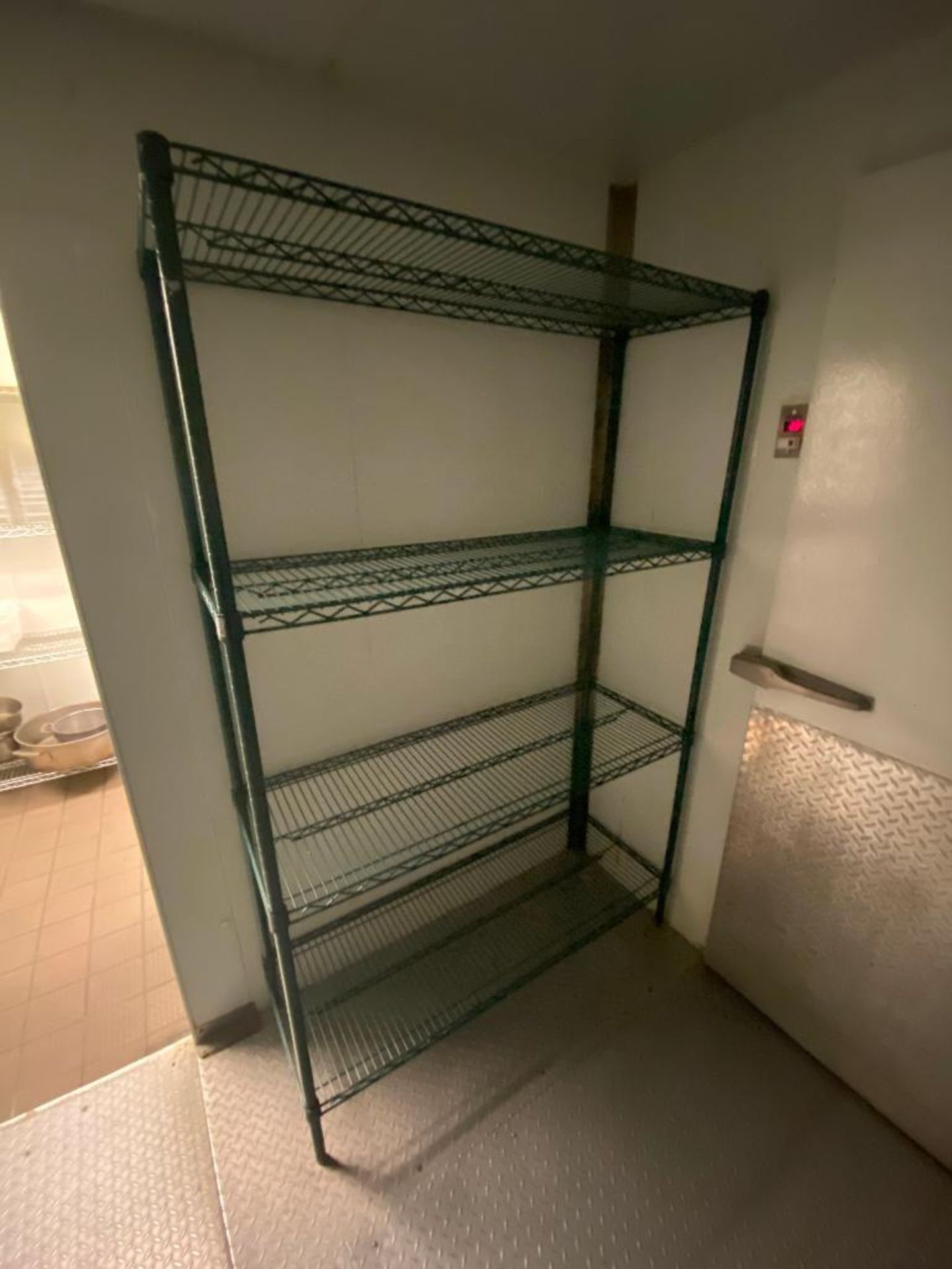 LOT OF (4) GREEN WIRE STORAGE RACKS, ASSORTED SIZES - Image 3 of 4