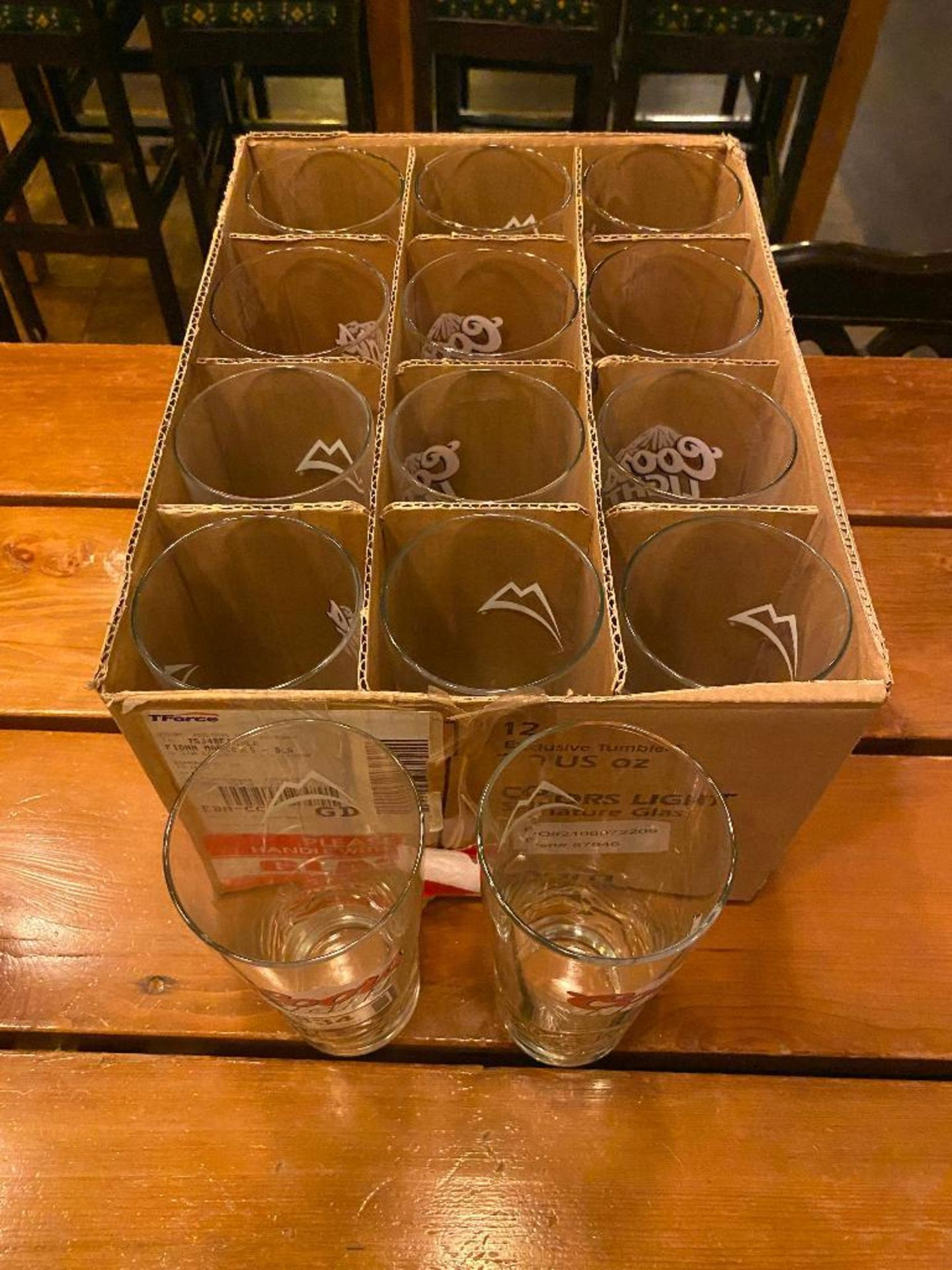 BOX OF COORS LIGHT BEER GLASSES
