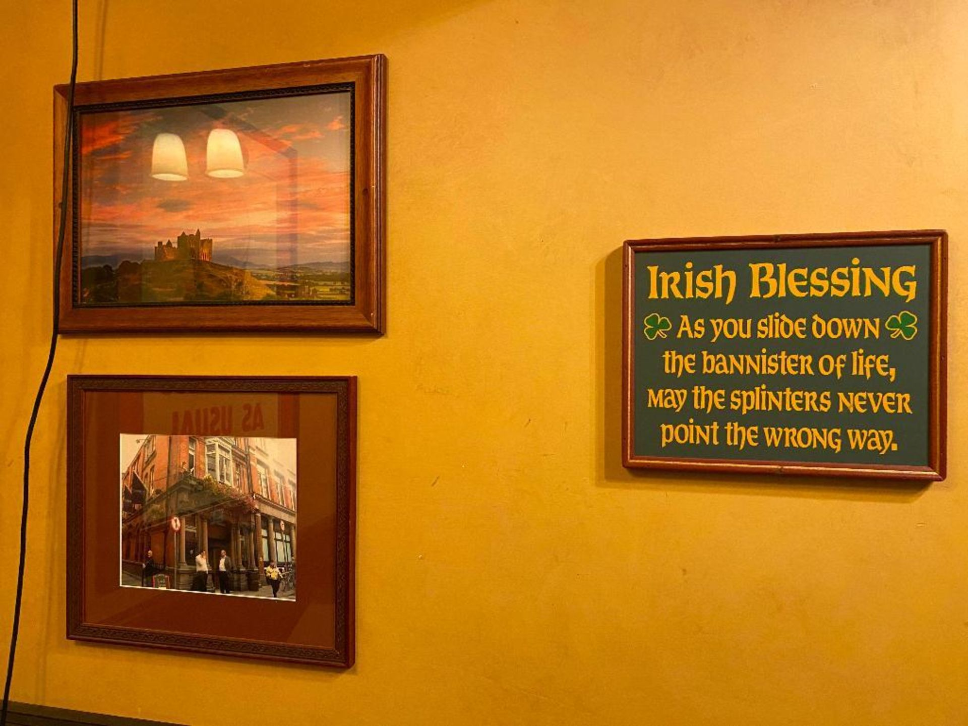 LOT OF (5) FRAMED MEMORABILIA PHOTOS & (1) IRISH BLESSING PLAQUE - NOTE: REQUIRES REMOVAL FROM WALL, - Image 2 of 4