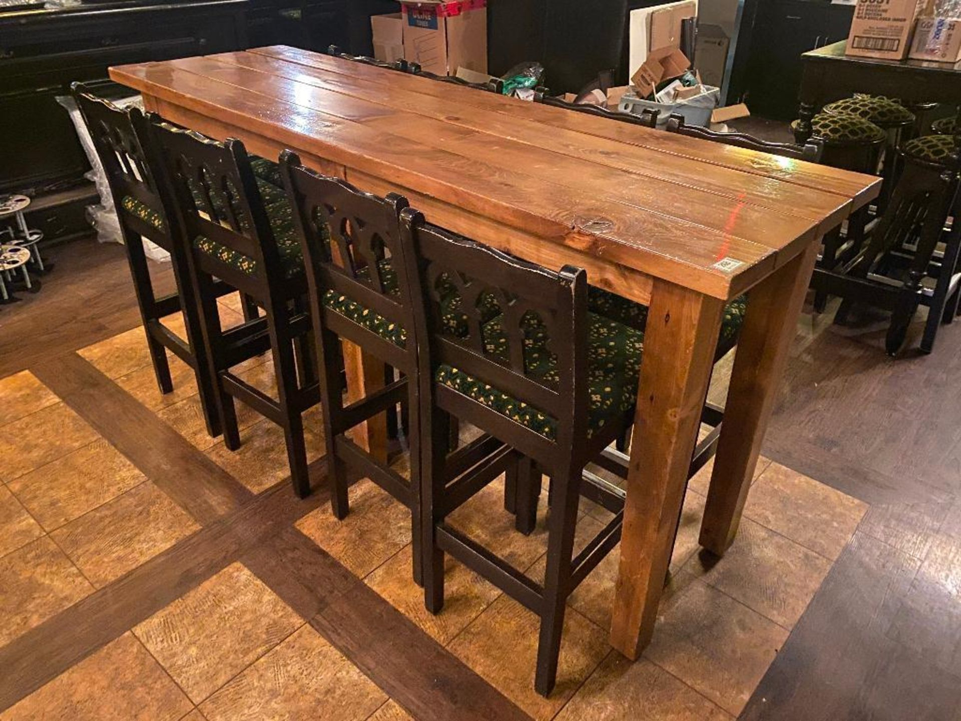 7' WOOD BAR HEIGHT TABLE WITH 8 BAR HEIGHT CHAIRS