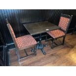 """30"""" X 24"""" WOOD TOP TABLE WITH 2 CHAIRS - 30"""" X 24"""" X 29.5"""""""