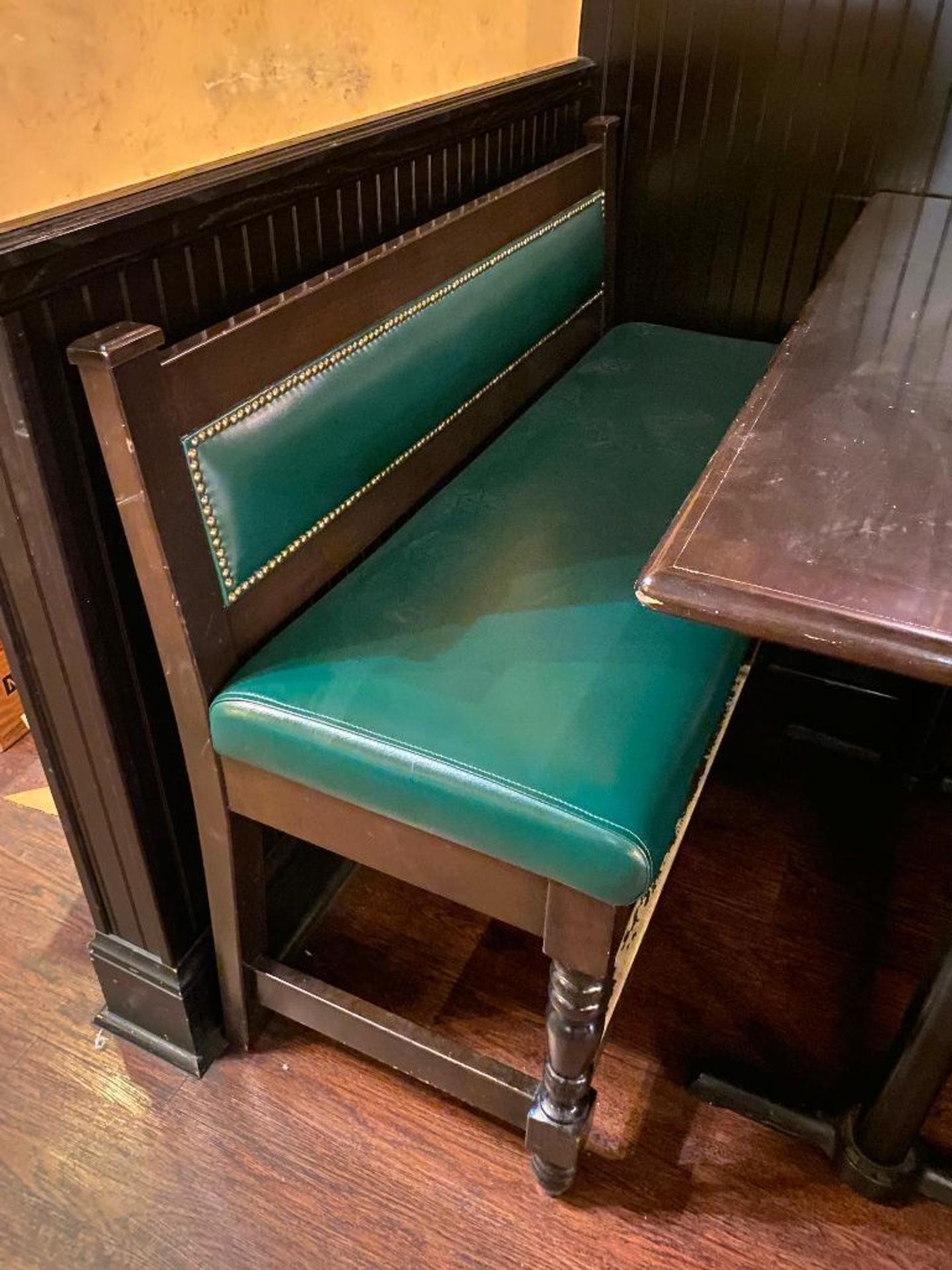 """RECTANGULAR BAR HEIGHT TABLE WITH (2) 54"""" GREEN BAR HEIGHT BENCHES - Image 3 of 4"""