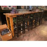10' WOOD BAR HEIGHT TABLE WITH 10 BAR HEIGHT CHAIRS