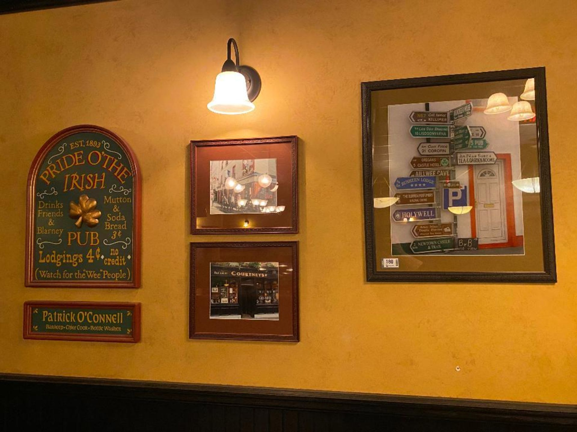 LOT OF (3) FRAMED MEMORABILIA PHOTOS & (1) PRIDE O'THE IRISH PLAQUE - NOTE: REQUIRES REMOVAL FROM WA