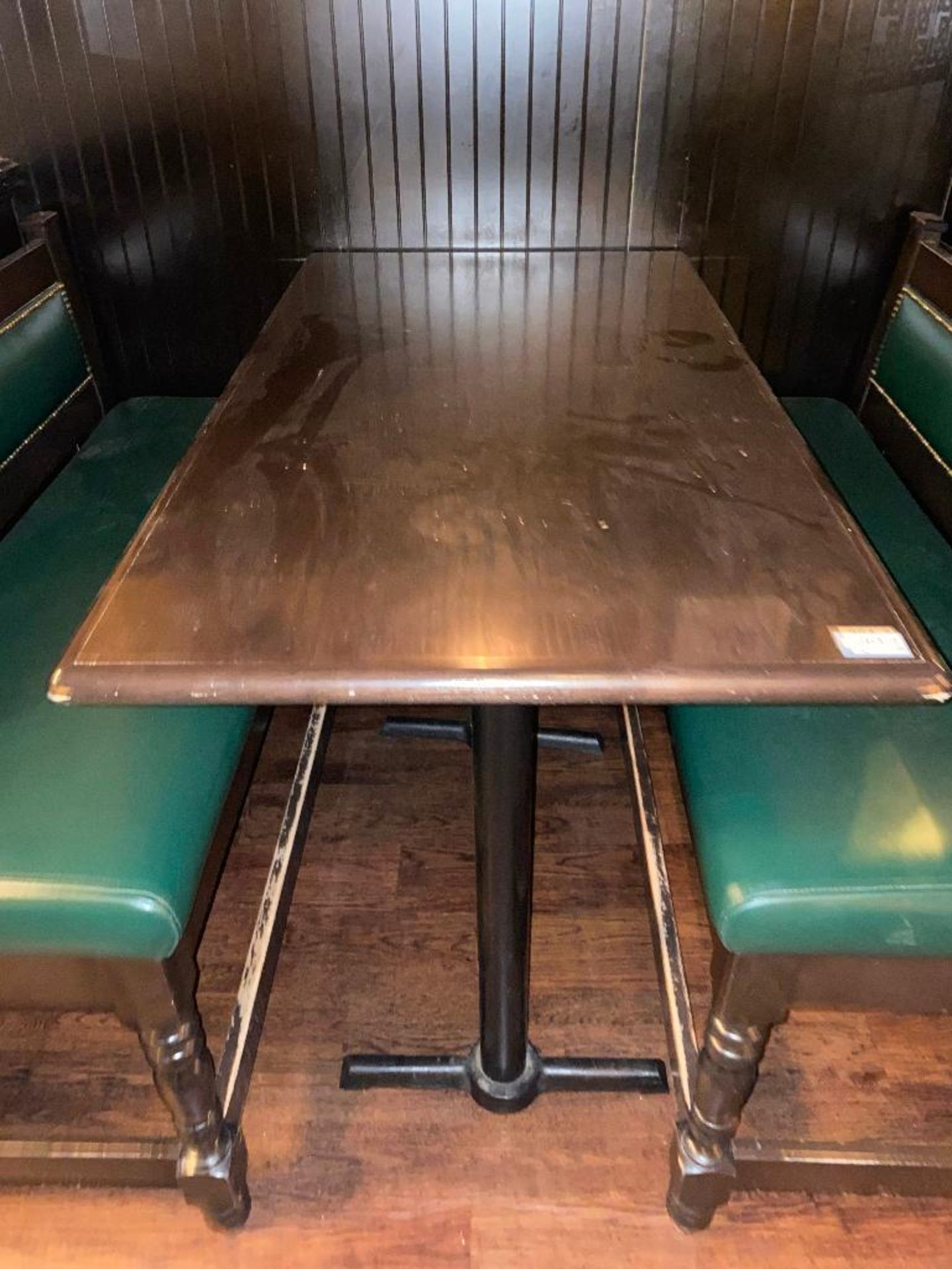 """RECTANGULAR BAR HEIGHT TABLE WITH (2) 54"""" GREEN BAR HEIGHT BENCHES - Image 4 of 4"""