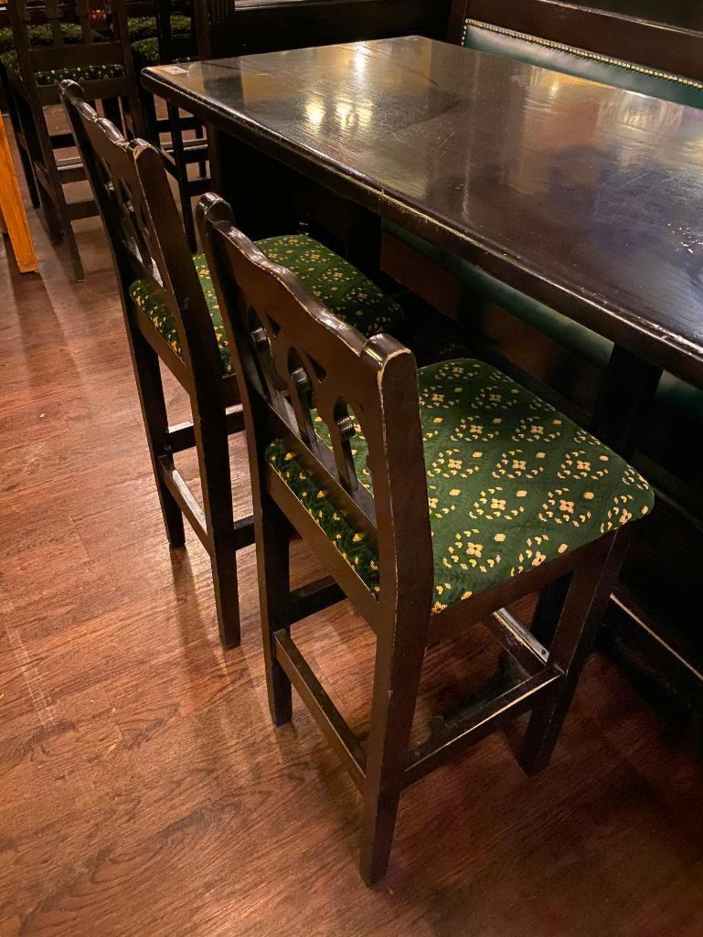 """RECTANGULAR BAR HEIGHT TABLE WITH 2 BAR HEIGHT CHAIRS & (1) 75"""" GREEN BAR HEIGHT BENCH - Image 3 of 5"""