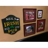 LOT OF (4) FRAMED MEMORABILIA PHOTOS & (1) NEIL'S IRISH PUB PLAQUE - NOTE: REQUIRES REMOVAL FROM WAL