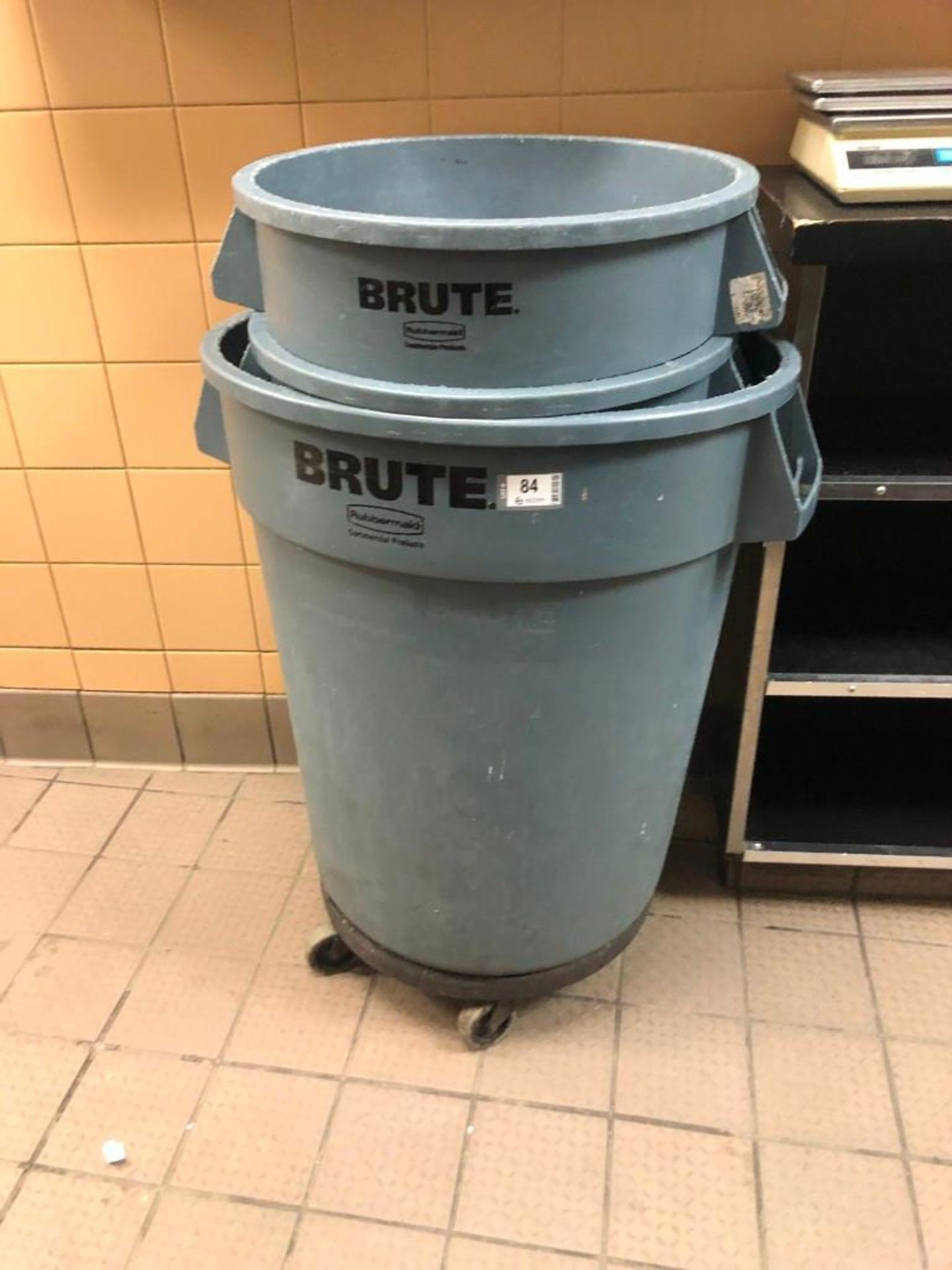 LOT OF (3) RUBBERMAID BRUTE GARBAGE BINS ONE ON DOLLY