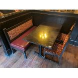 "RECTANGULAR TABLE WITH 2 CHAIRS & 54"" BURGUNDY BENCH"