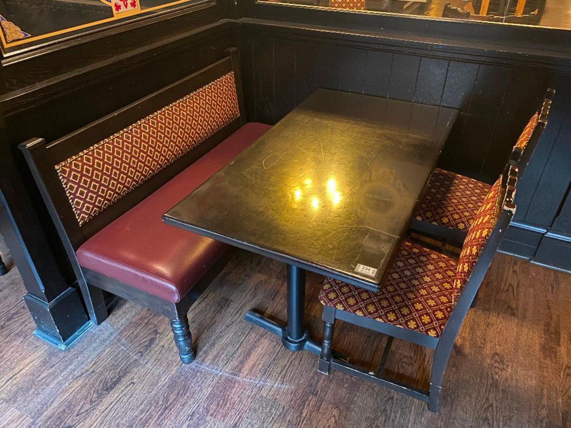 """RECTANGULAR TABLE WITH 2 CHAIRS & 54"""" BURGUNDY BENCH"""