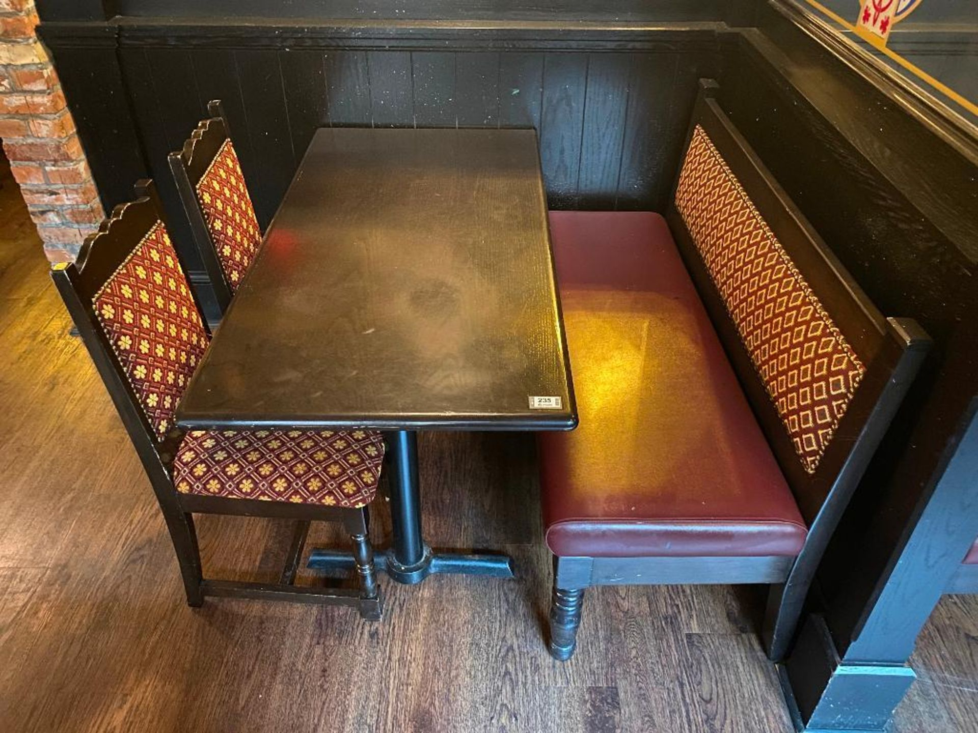"""RECTANGULAR TABLE WITH 2 CHAIRS & 54"""" BURGUNDY BENCH - Image 2 of 3"""
