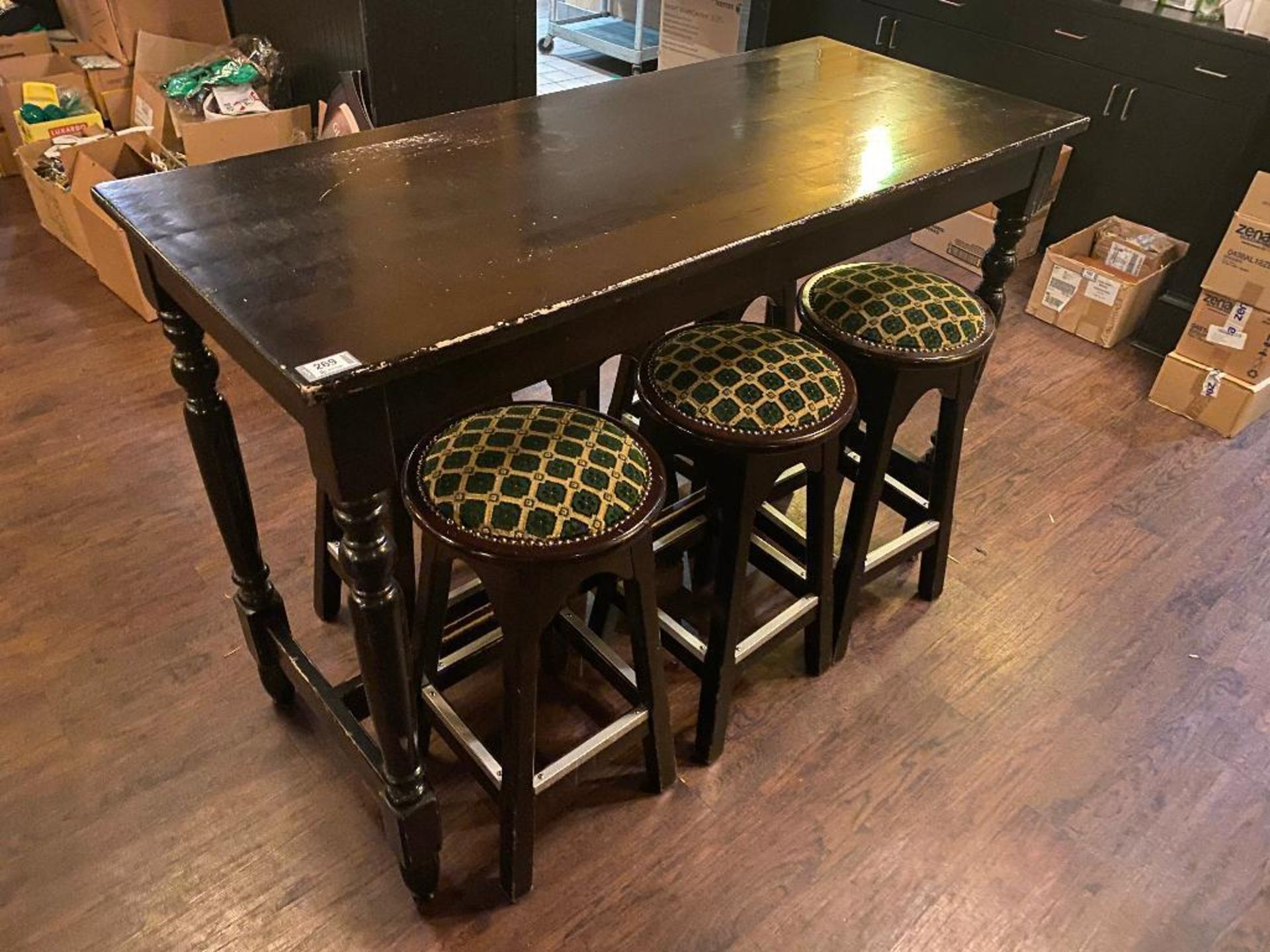 WOODEN BAR HEIGHT TABLE WITH 6 BAR STOOLS