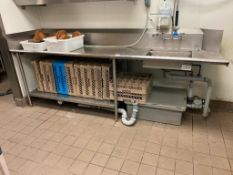 """105"""" STAINLESS STEEL DRAINBOARD/ SINK WITH PRE-RINSE & GREASE TRAP - NOTE: REQUIRES DISCONNECT, PLEA"""