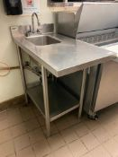 TRIMEN STAINLESS STEEL HAND SINK & TABLE WITH UNDERSHELF - NOTE: REQUIRES DISCONNECT, PLEASE INSPECT