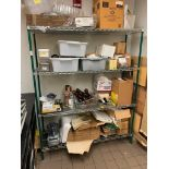 """4 TIER GREEN WIRE STORAGE RACK WITH CONTENTS - 60"""" X 18"""" X 74"""""""