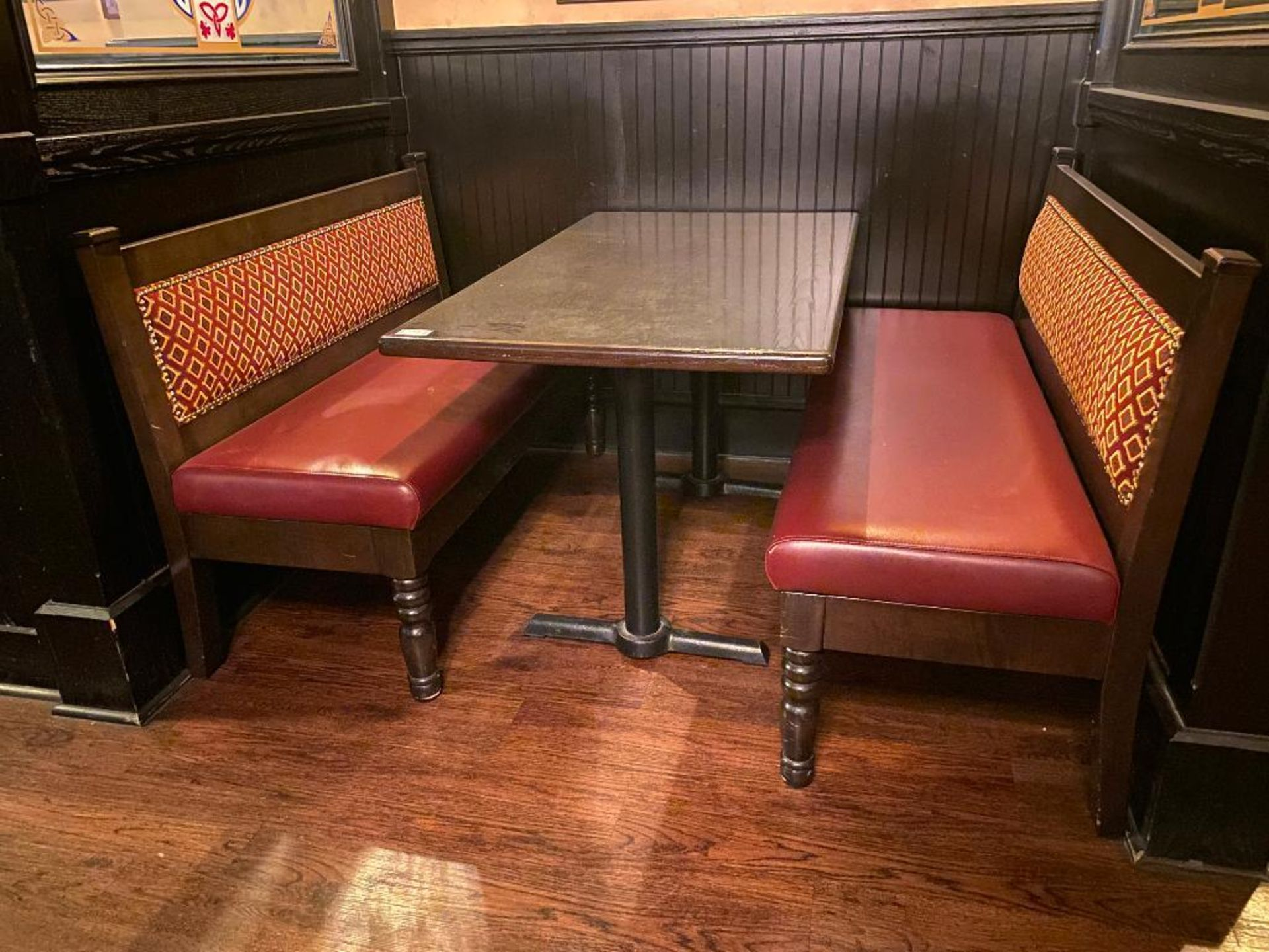 """RECTANGULAR TABLE WITH (2) 54"""" BURGUNDY BENCHES - Image 2 of 5"""
