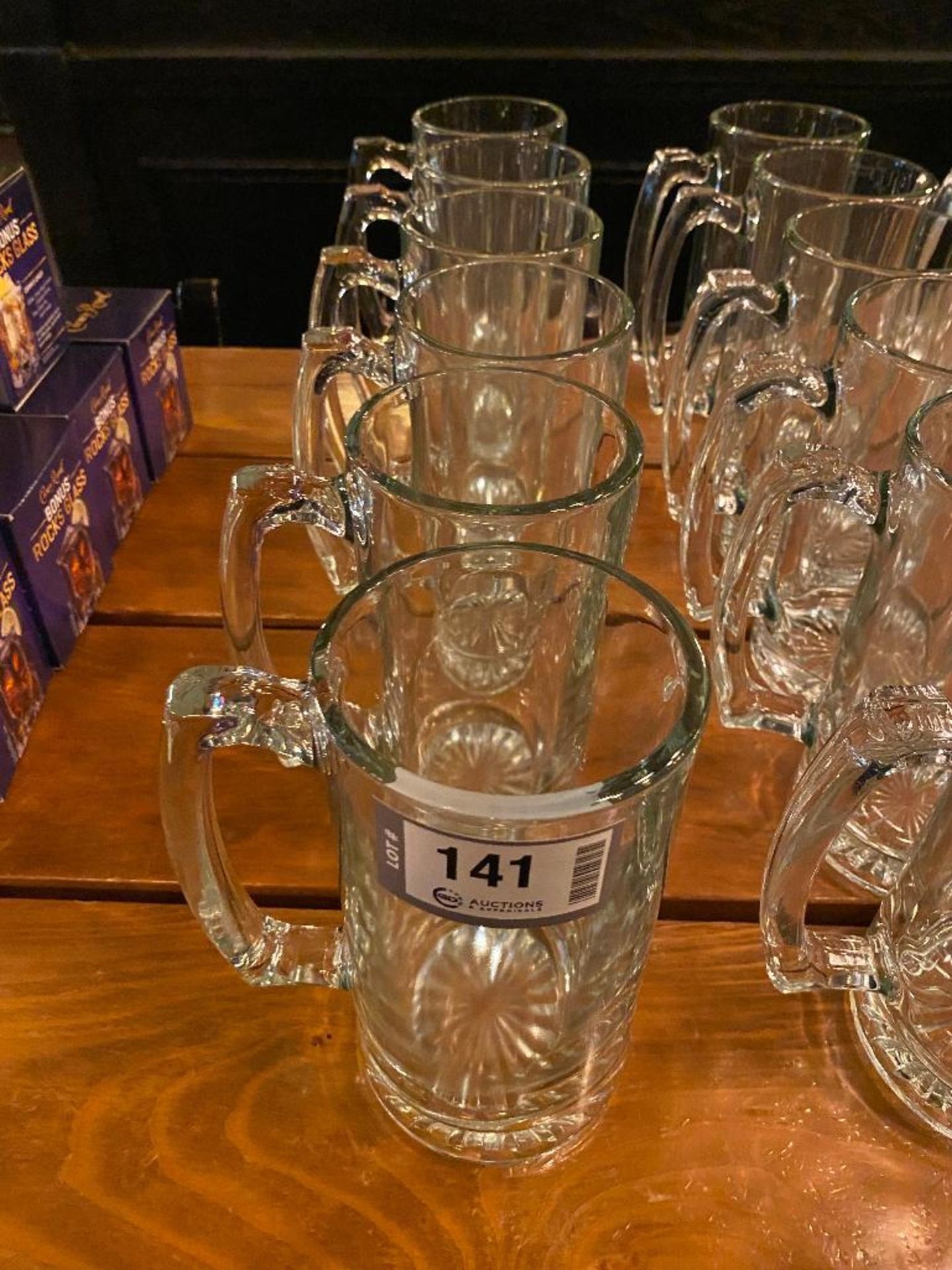 LOT OF (6) GLASS MUGS