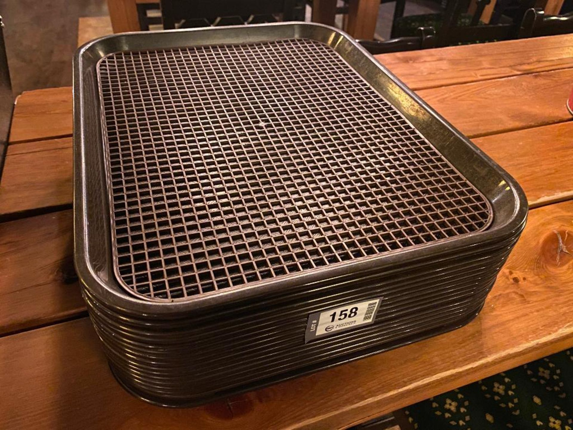 LOT OF APPROX. (15) PLASTIC CAFETERIA TRAYS WITH RUBBER MATS
