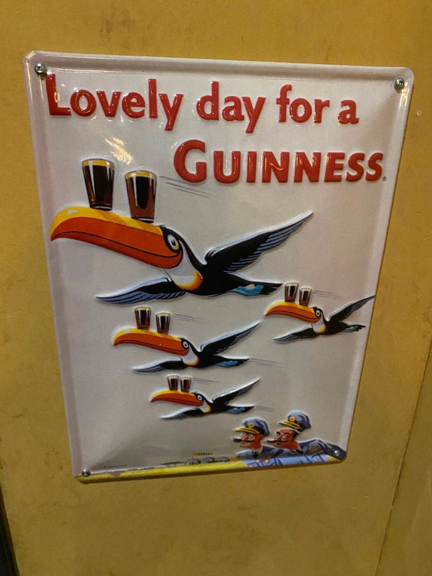 LOT OF (3) FRAMED MEMORABILIA PHOTOS & (1) METAL GUINNESS ADVERTISING SIGN - NOTE: REQUIRES REMOVAL - Image 4 of 4