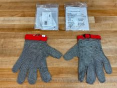 MEDIUM CHAIN MESH GLOVES W/RED STRAP, OMCAN 13557 - LOT OF 2 GLOVES