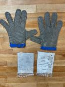 LARGE CHAIN MESH GLOVES W/ BLUE STRAP, OMCAN 13556 - LOT OF 2 GLOVES