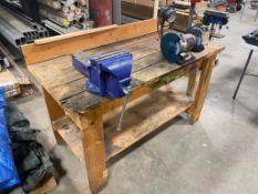 "Wooden Work Bench With Vise & Ryobi 6"" Bench Grinder"