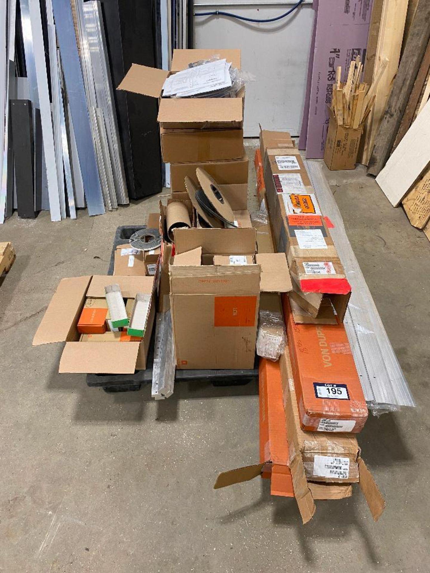 Pallet of Asst. Von Duprin Door Hardware, Thresholds, Schlage Power Supplys, etc.