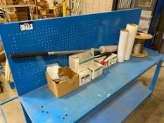 Lot of Asst. Shipping Supplies including Shrink Wrap, Banding Clips, Crimper, Aircraft Cable, etc.