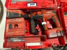 HILTI TE2-A Cordless Hammer Drill w/ (2) Batteries, Charger, Case, etc.