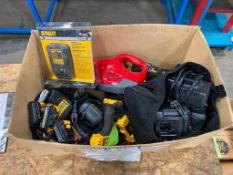 Box of Asst. Tools for Repair including DeWalt Drills, Batteries, Chargers, Dirt Devil, etc.