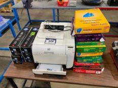 Lot of HP LaserJet Pro 400 Color Printer w/ (4) Boxes of Ink, etc.